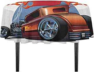 kangkaishi Cars Leakproof Polyester Tablecloth Cartoon Hot Rod Antique Customized Classical American Engine Nostalgia Revival Dinner Picnic Home Decor D59.05 Inch Orange Blue Black