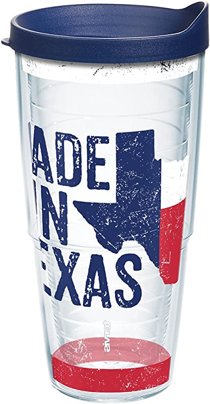 Tervis 1213269 Texas Made In Texas Tumbler With Wrap And Navy Lid 24oz Clear