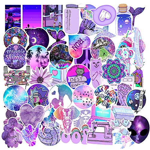 Cute VSCO Purple Stickers for Water Bottles 50 Pack,ins Stickers,Laptop Stickers,Waterproof,Aesthetic,Fashion Stickers for Teens,Girls Perfect for Water Bottles,Phone,Travel Extra Durable Vinyl