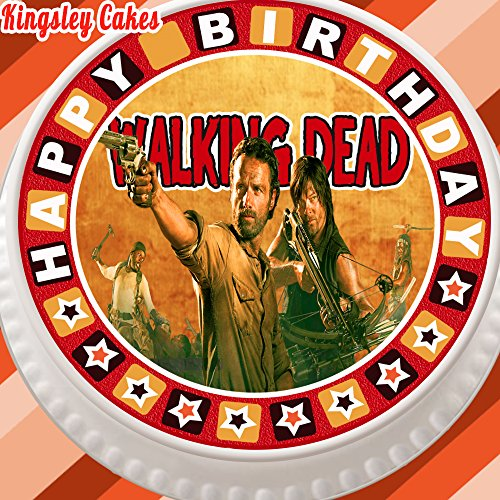 """Vorgeschnittener, essbarer Zuckerguss-Tortenaufleger, 19,1cm rund, Design: Walking Dead, mit """"Happy-Birthday""""-Rand"""