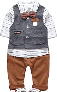 JIANLANPTT 3 Piece Striped Long-Sleeve Shirt Vest and Pants Set for Toddler Boy