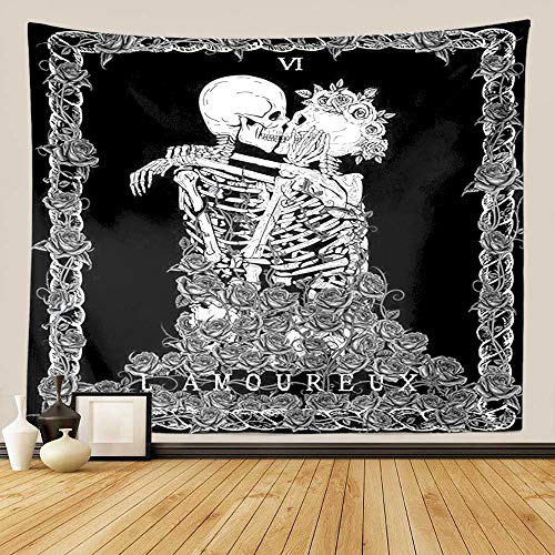 GUORUI Skull Tapestry -The Kissing Lovers - Wall Hanging Black and White Human Skeleton with Rose Wreath Home Decor Tapestries Wall Hangings (Black L 200x150CM (79