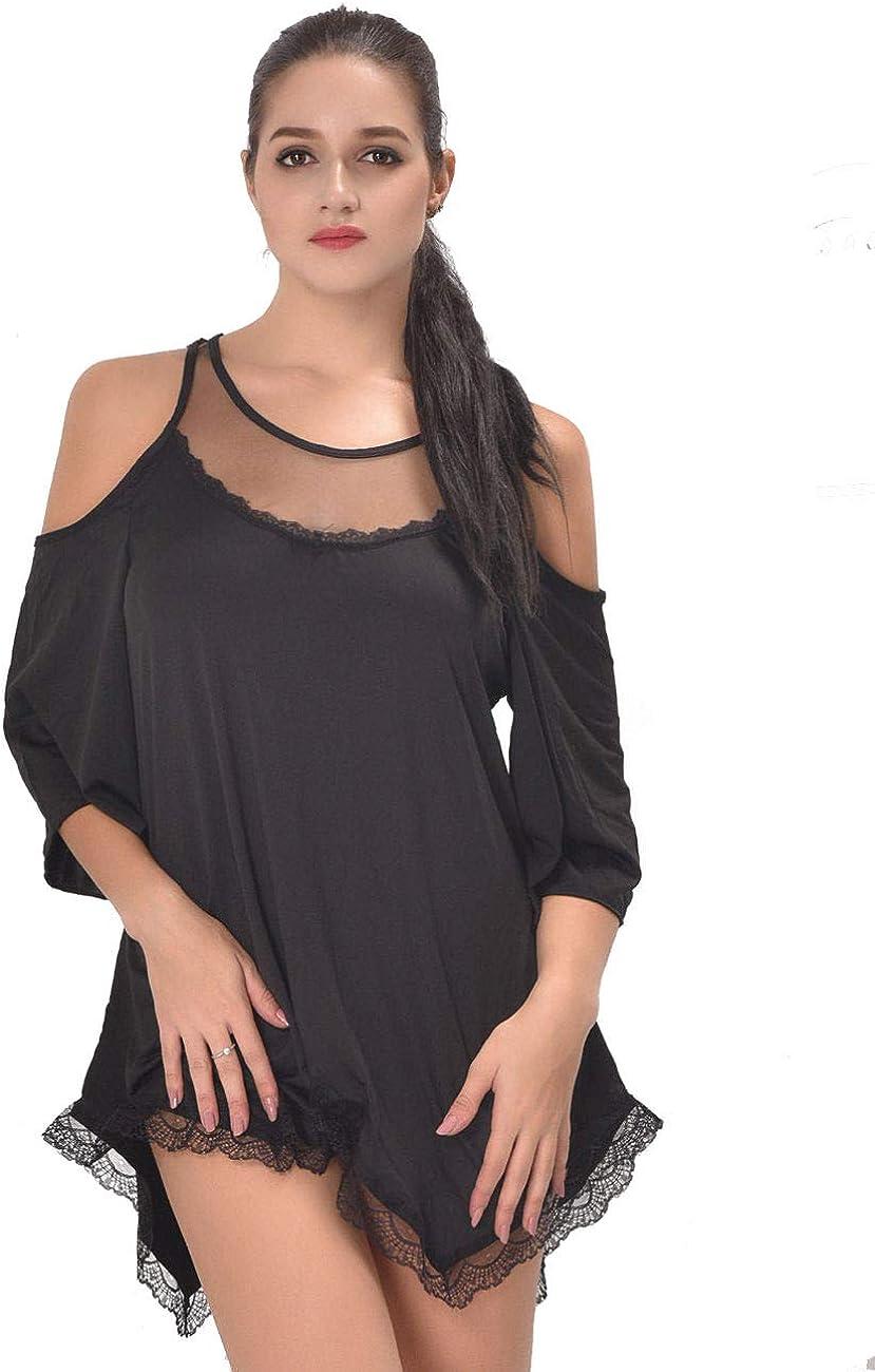Gain Love Women Sexy Lingerie Plus Size Babydoll Nightgown Off Shoulder See Through Loose Sleepwear Night Shirt
