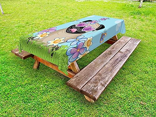 Mantel de pug al aire libre, diseño de mariposas y mariposas en forma de corazón cielo abierto, mantel decorativo lavable, 152 x 228 cm, azul cielo