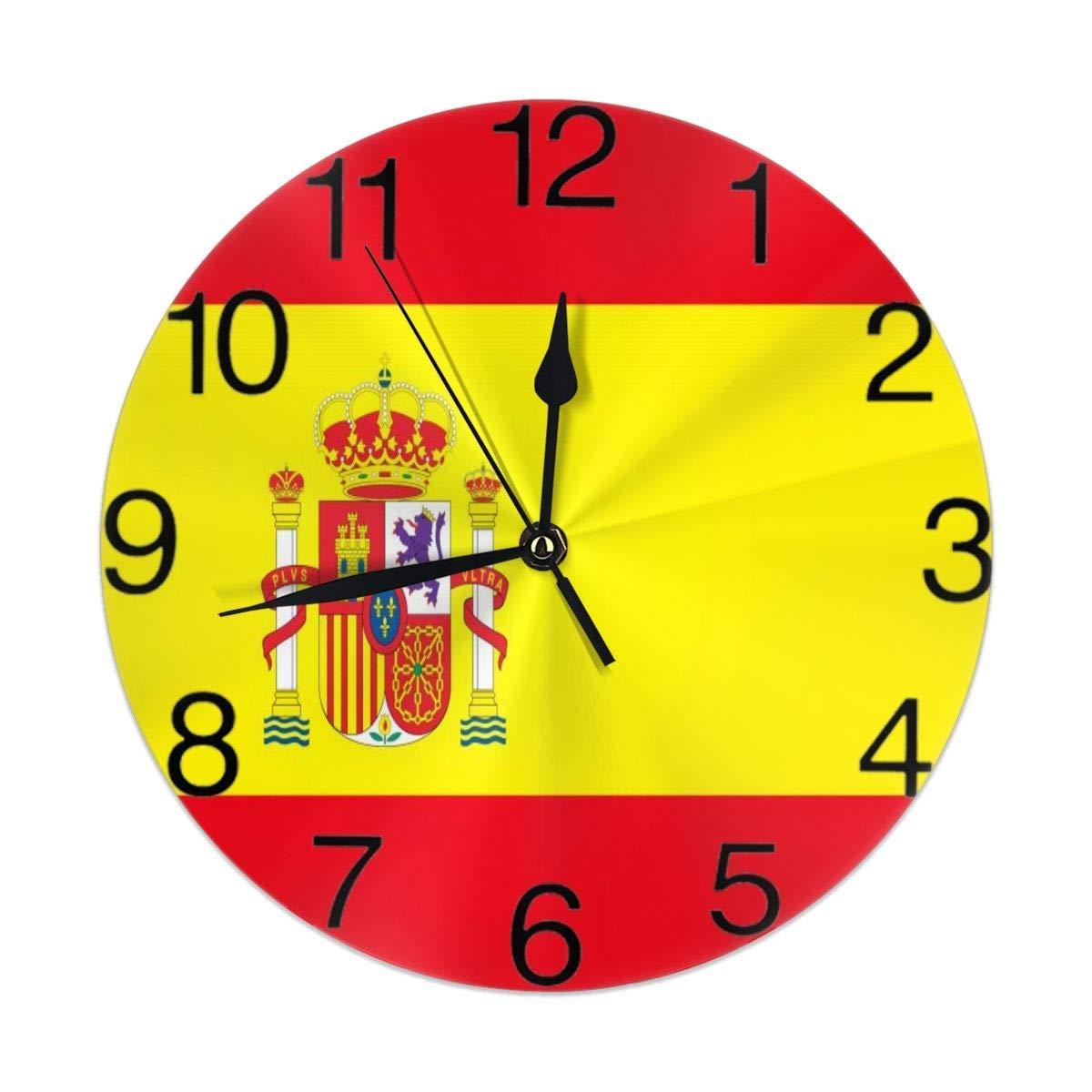Eileen Max Bandera de España Reloj de Pared Redondo para Estudiante Oficina Escuela Hogar Decorativo Reloj Arte: Amazon.es: Hogar