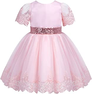 Felicy Newborn Infant Baby Girl Long Sleeve Dot Bowknot Dresses Princess Party Wedding Pageant Dress