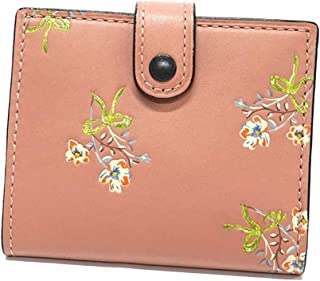 NY Small Trifold Leather Wallet with Floral Bow Interior - #21693
