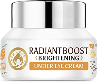 Mom & World Normal Radiant Boost Brightening Under Eye Cream - 20 Plant Actives with Vitamin C, B3, Sea Buckthorn Oil, Caf...