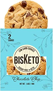 Low Carb Cookies BisKeto - Keto Snacks, Low Net Carbs, Sugar & Gluten Free - Box with 6 pack, 12 cookies (Chocolate Chip) ...