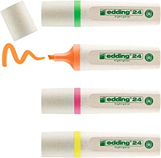 edding 24 EcoLine - Surligneur ecologique rechargeable - Etui de 4 - jaune, orange, rose, vert- Labels écologiques Blue An...