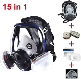 JZWDMD 15in1 Full Face Respirator Gas Mask Widely Used in Organic Gas,Paint Sprayer, Chemical,Woodworking,Dust Protector