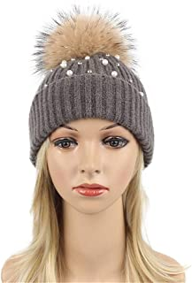 Hat Fashion Women Pearl Curling Outdoor Warm Hat with Ball Knit Hat Fashion Accessories (Color : Brown)
