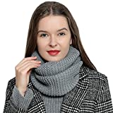 DonDon Sciarpa da lana Tubo invernale in maglia da donna caldo e morbido Loop Tube - grigio