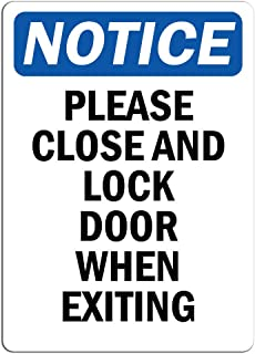 Notice - Please Close and Lock Door When Exiting Sign   Label Decal Sticker Retail Store Sign Sticks to Any Surface 8