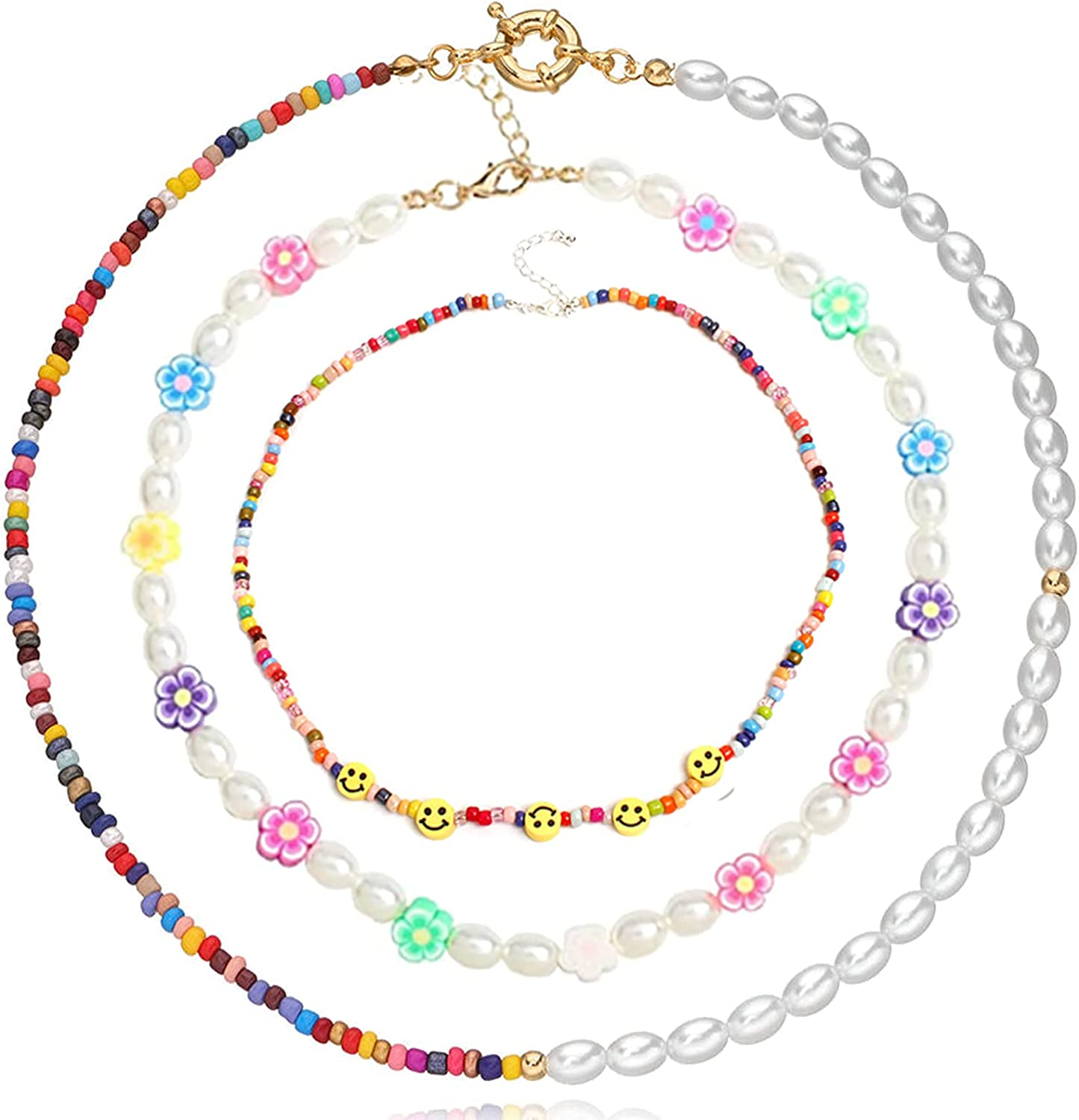JEWPARK 1-3 PCS Y2K Beaded Choker Necklaces for Women Vsco Boho Handmade Flower Necklace Cute Necklace for Teen Girls Beach Necklace