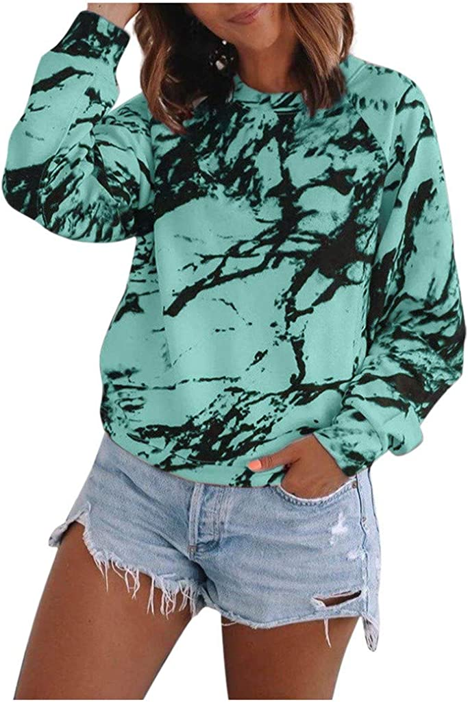 Women Fashion Tie Dye Printed Color Block Casual Long Sleeves Round Neck Baggy Tops Pullover Blouse Sweatshirts