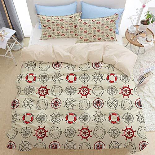 1203 beige Duvet Cover Set,Compass Exotic Travels Theme Print,Microfibre Duvet Cover Set 200x200cm with 2 Pillowcase 50x80cm