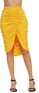 Cantonwalker Women's High Waist Ruched Bodycon Long Pencil Skirt 136