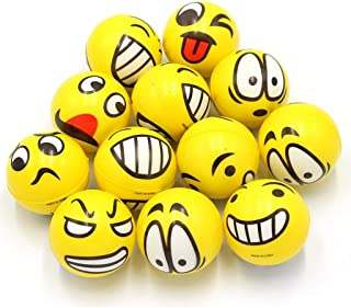 Emoji Play Balls 12 Pack Emoji Stress Balls for kids, adults Stress Reliever Fidget Party Pack Favor Ball Toy for Therapy ...