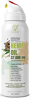 Hemp Seed Oil Extract for Pain Anxiety,Stress Relief,Sleep aid–Pure 37000mg- 2oz l Intake Control Spray Bottle l Immune Support -Premium Cold Pressed–Product of USA-Focus and Mood Improvement