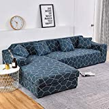 Fundas de sofá Chaise Longue Impresas en Forma de L para Sala de Estar Protector de sofá Fundas elásticas Antipolvo para sofá de Esquina A10 1 Plaza