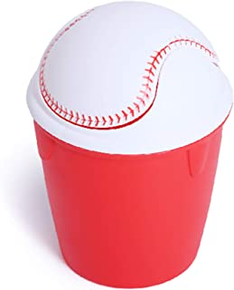 Smart Design Kid's Waste Basket w/Removable Swing Lid - Easy to Clean Design - for Garbage, Paper Clutter, Trash Bin - Home (9 x 12 Inch) [Baseball Red]