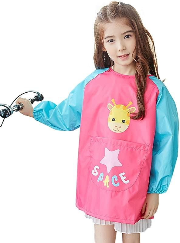 OLizee Long Sleeve Waterproof Art Smock With Front Pocket Cartoon Giraffe Kids Painting Apron Bib For Eating Rose S