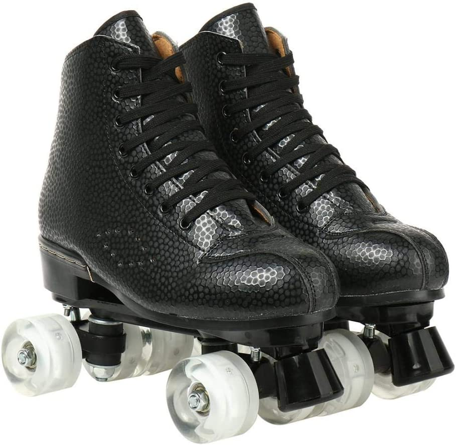 Womens Roller Skates High-top Roller Skates PU Leather Four-Wheel Double Row Light Up Outdoor Rolling Skates Roller Skates for Adults Teen