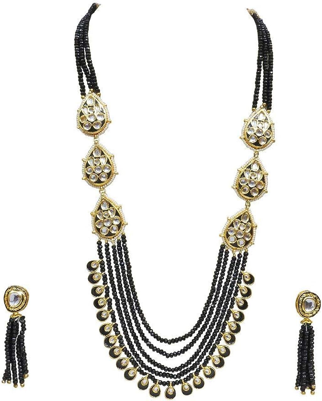 Babosa Sakhi Traditional Kundan Green Necklace Meenakari Onyx Bead Bollywood Jewelry Set