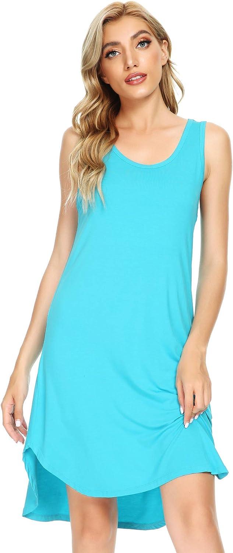 WiWi Womens Bamboo Pajamas Scoop Neck Nightgowns Sleeveless Lightweight Tank Loungewear Plus Size Sleep Shirts S-4X