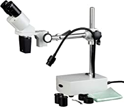AmScope SE400-Z Professional Binocular Stereo Microscope, WF10x and WF20x Eyepieces, 10X and 20X Magnification, 1X Objective, LED Lighting, Boom-Arm Stand, 110V-120V