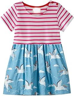 فستان مقلَّم للفتيات الصغار من بلاسترونج بتصميم حيوانات وبنت غير رسمي مزين بسترة قصيرة جيرسي فساتين قمصان