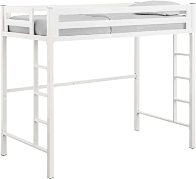 Walker Edison Brighton Classic Metal Twin over Loft Bunk Bed, Twin Size, White