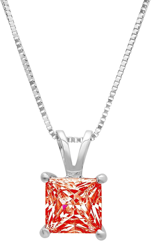 1.05 ct Brilliant Princess Cut Ideal Red Cubic Zirconia VVS1 D Solitaire Pendant Necklace With 16