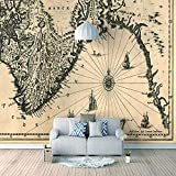 Papel Pintado 3D Murales Mapa gris- Fotomurales Para Salón Natural Landscape Foto Mural Pared, Dormitorio Corredor Oficina Moderno Festival Mural 250x175 cm - 5 tiras