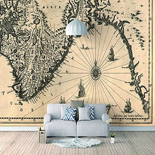 Papel Pintado 3D Murales Mapa gris- Fotomurales Para Salón Natural Landscape Foto Mural Pared, Dormitorio Corredor Oficina Moderno Festival Mural 350x256 cm - 7 tiras