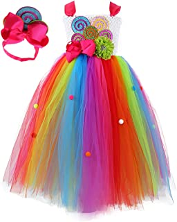 Girls Rainbow Candy Tutu Dress for Birthday Party
