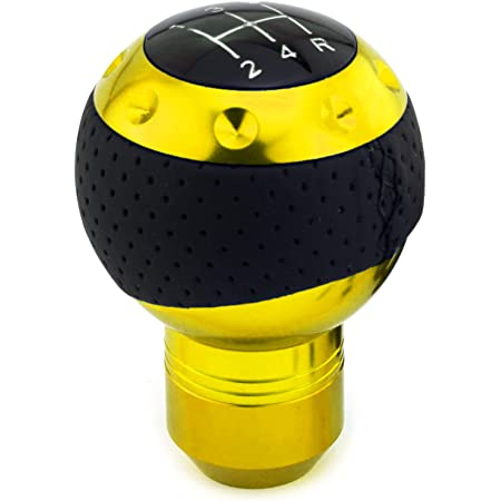 Thruifo 5 Speed Gear Shifter Knob Black Leather /& Aluminum Automatic Manual Car Stick Shift Head Fit Most MT Vehicles