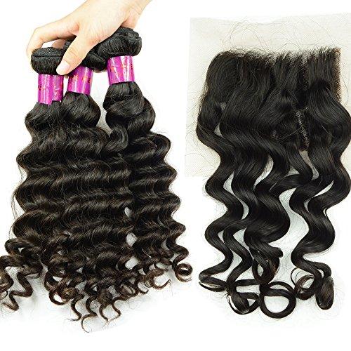 Noble Reine Cheveux 10 A 3 trames Courroie profonde péruvien Cheveux avec fermetures 1pièce vierge Trame de cheveux Top Dentelle Suisse gratuit supplémentaire Noir 4 pcs