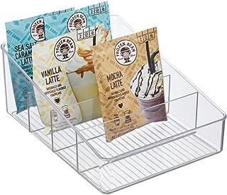 mDesign rangement de cuisine – boite de rangement pour soupes en sachet, épices, etc. – porte-épices en plastique avec 3 c...