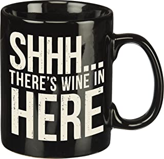 Primitives By Kathy 25378 Stoneware Coffee Mug, 20 oz, There's Wine In Here