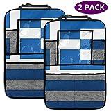 XZfly Bandera de Grecia Organizador de Asiento Trasero Personalizado para Coche, Protector de Asiento Trasero para Coche Kick Mats para Juguetes Bebidas de Botella de Libro, Paquete de 2