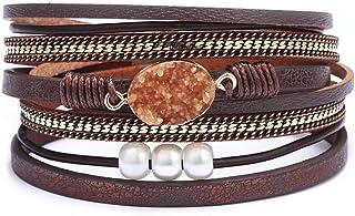 AZORA Womens Leather Wrap Bracelet Handmade Pearls Beads Cuff Bangle Bracelets for Women Girls