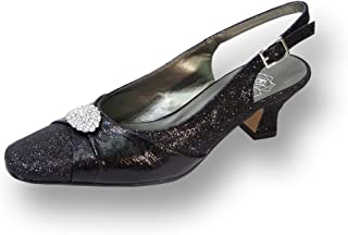 Floral FIC Elaine Women Wide Width Evening Dress Shoe for Wedding, Prom, and Dinner Black