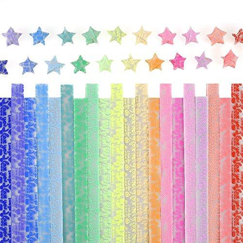 Origami-Papier-Set, leuchtendes Origami-Sterne-Papier, Set mit 600 Blatt in 20 Farben (leuchtet im Dunkeln)