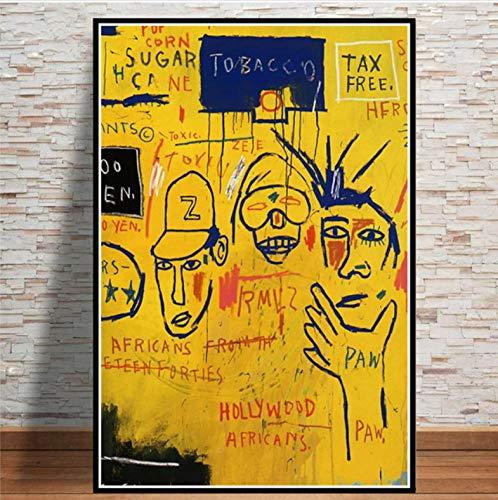 JIUJIUJIU Graffiti Master-Jean-Michel Basquiat-Graffiti Poster und Drucke Leinwand Malerei Moderne Wandkunst Bild für Wohnzimmer Wohnkultur ohne gerahmt 40 * 60cm