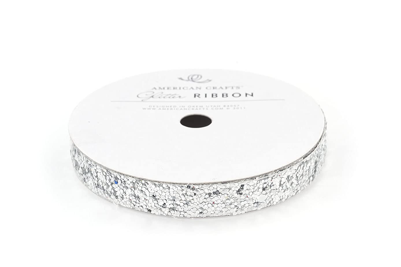 American Crafts 3/8-Inch Glitter Ribbon Strips, Large, Solid Silver