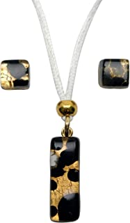Murano Glass Set of Stick Pendant and Earrings (Amber)