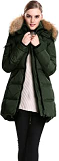 Escalier Women's Down Jacket with Real Fur Hooded Winter Parka Coat