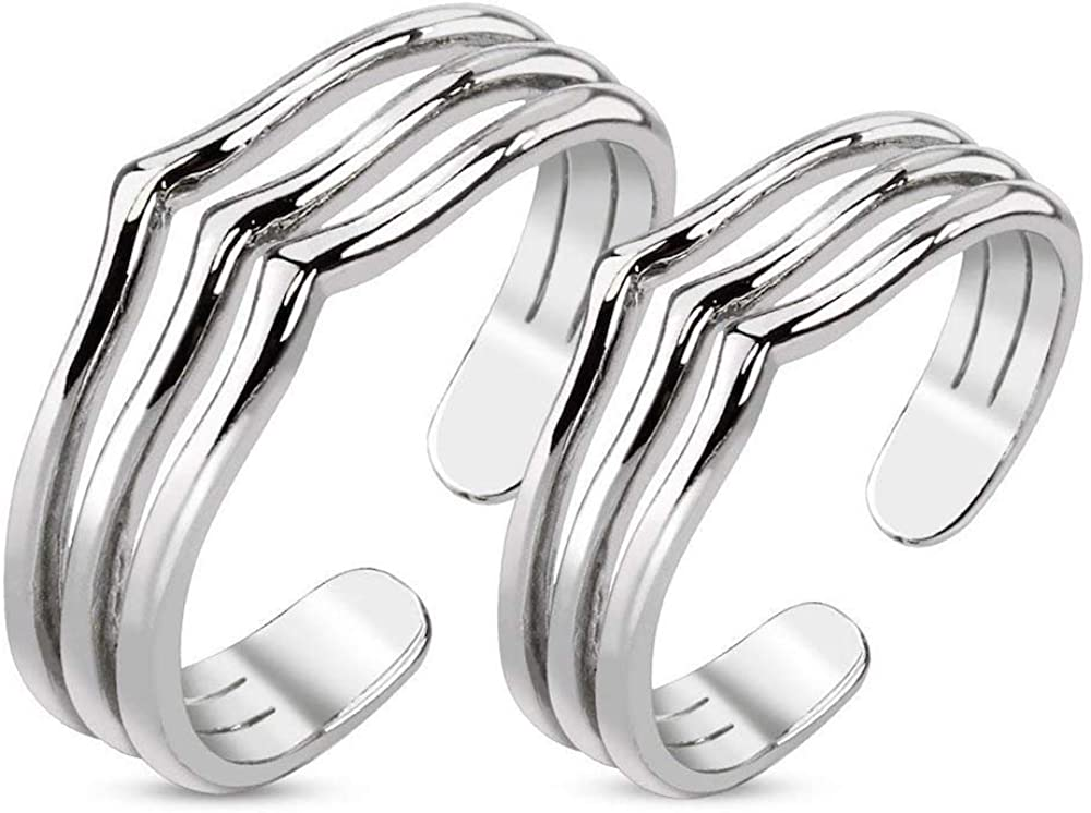Covet Jewelry Pair of Triple Lines Adjustable Rhodium Plated Brass Mid-Ring/Toe Ring